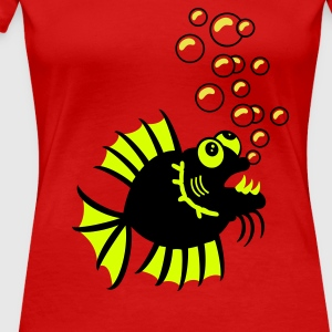 Rot Witziger Fisch / funny fish (2c) T-Shirts - Frauen Premium T-Shirt