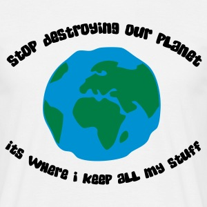 Stop destroying our planet (3c, ENG) - Mannen T-shirt
