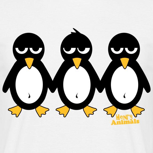 Basisshirt sand mit 3 Pinguinen
