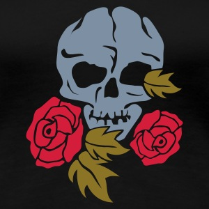 Svart skull and rose T-shirts - Premium-T-shirt dam