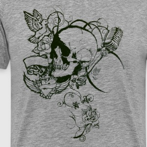floral skull [black edition] - Men's Premium T-Shirt