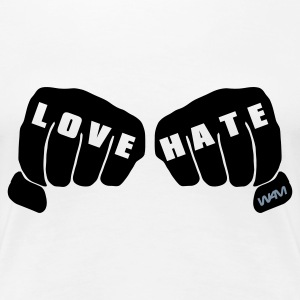 Blanc love vs hate T-shirts - T-shirt Premium Femme
