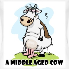 White A Middle Aged Cow Women's Tees