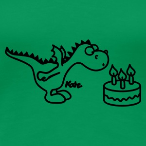 Grass green happy Birthday, little dragon Women's T-Shirts - Women's Premium T-Shirt