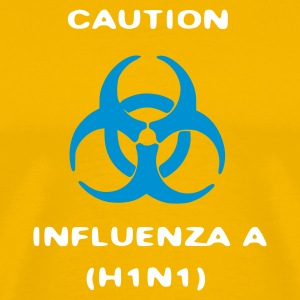 Geel influenza_caution T-shirts - Mannen Premium T-shirt