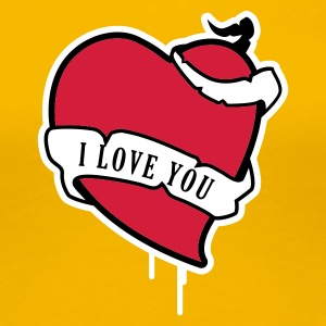 Gelb I Love You Herz mit Banner T-Shirts - Frauen Premium T-Shirt