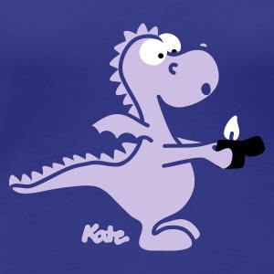 Royal blue Dragon with lighter (c) Women's T-Shirts - Women's Premium T-Shirt