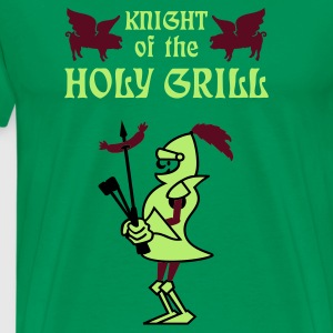 Mosgroen Knight of the holy grill (Txt, 2c) T-shirts - Mannen Premium T-shirt