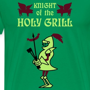 Mossgrön Knight of the holy grill (Txt, 2c) T-shirts - Premium-T-shirt herr