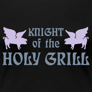 Sort Knight of the holy grill (Txt, 2c) T-shirts - Dame premium T-shirt