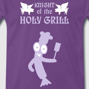 Indigo Knight of the holy grill (Txt, 2c) T-shirts - Mannen Premium T-shirt