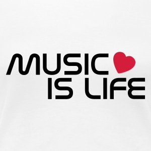 Blanco music is life heart ES Camisetas - Camiseta premium mujer