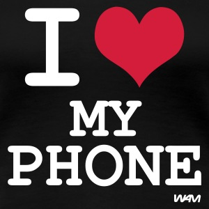 Svart i love my phone by wam T-shirts - Premium-T-shirt dam