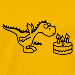 Geel Happy Birthday, draakje T-shirts - Mannen Premium T-shirt