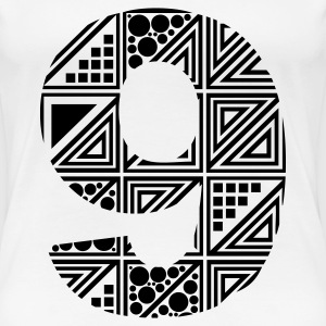 White  Women's number nine 9 T-Shirts - Women's Premium T-Shirt