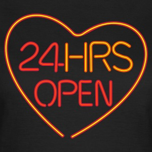 Neon: 24 HRS open heart :-: - T-skjorte for kvinner