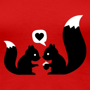 Red squirrels in love - to give each other Women's T-Shirts - Women's Premium T-Shirt
