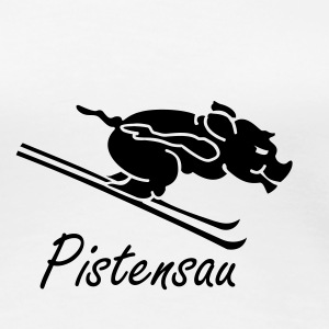 Weiß Pistensau /    on ski (1c) T-Shirts - Frauen Premium T-Shirt