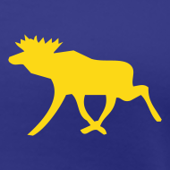Motiv ~ Schwedisch Elch-Girlie-Shirt blau-gelb mit Schwedenelch