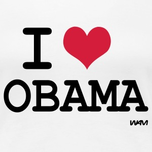 Weiß i love obama by wam T-Shirts - Frauen Premium T-Shirt