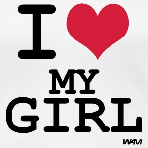 Wit i love my girl by wam T-shirts - Vrouwen Premium T-shirt