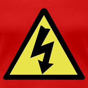 Red Electricity Warning Women's T-Shirts - Women's Premium T-Shirt