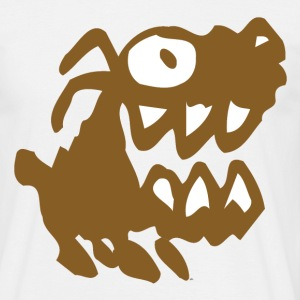 Sand beige Bow Wow! Brown Cartoon Dog by Cheerful Madness!! Men's T-Shirts - Men's T-Shirt