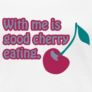 Weiß Cherry eating © T-Shirts - Dame premium T-shirt