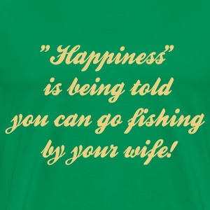 Happiness is being told you can go Fishing T-Shirt - Cream Print - Men's Premium T-Shirt