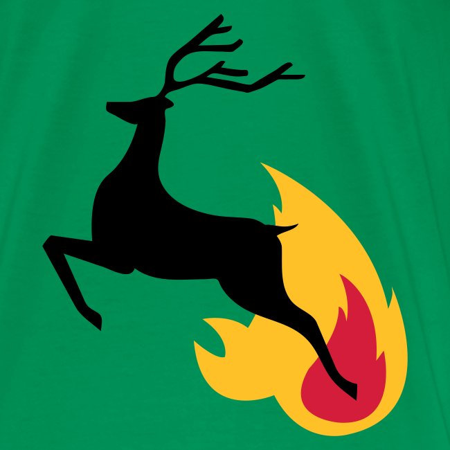 Deer jumping from flame