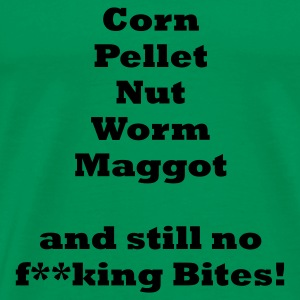 Corn Pellet Nut Worm Maggot and still no bites Fishing T-Shirt - Black Print - Men's Premium T-Shirt