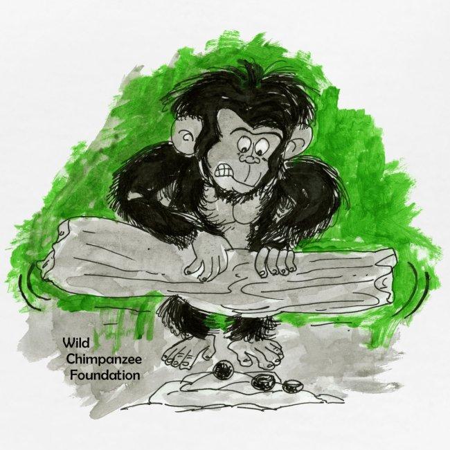 Chimpanzee nut cracking Women's Classic Girlie Shirt