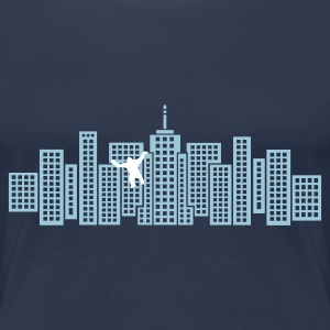 Marinblå Skyline with Monster Ape T-shirts - Premium-T-shirt dam