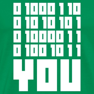 Moss green FUCK YOU - Binary code Men's T-Shirts - Men's Premium T-Shirt