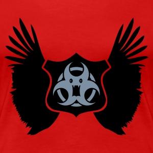 Rød winged Biohazard Monster Emblem (2c) T-skjorter - Premium T-skjorte for kvinner