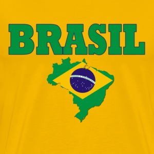 Yellow brasil flag Men's T-Shirts - Men's Premium T-Shirt