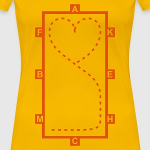 Yellow Dressage Riding heart Women's T-Shirts - Women's Premium T-Shirt