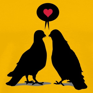 Gelb Love saying Doves - Two Birds_3c T-Shirts - Männer Premium T-Shirt