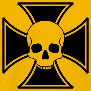 Yellow Skull Iron Cross Men's T-Shirts - Men's Premium T-Shirt