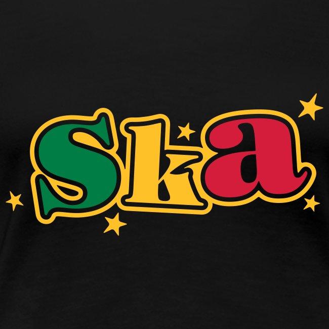 schwarzes Ska-Shirt mit Sternen 3farbiger druck