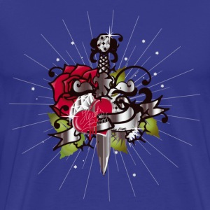 Royal blue Heart's blood-The heart,the rose and the dagger Men's T-Shirts - Men's Premium T-Shirt