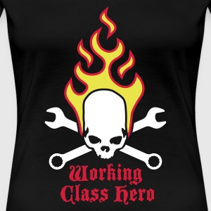 fire_skull_working_class_hero_b_3c T-shirts - Vrouwen Premium T-shirt