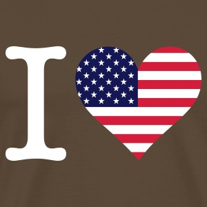 Marrone I Love USA Original (3c) T-shirt - Maglietta Premium da uomo