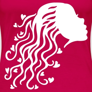 Pink Woman Hair Heart T-Shirts - Frauen Premium T-Shirt