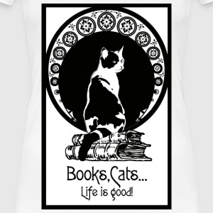 Books,cats,life is good - Frauen Premium T-Shirt