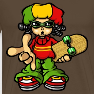 rasta boy with skateboard - T-shirt Premium Homme