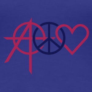 Turkis anarchy peace love (2c) T-shirts - Dame premium T-shirt