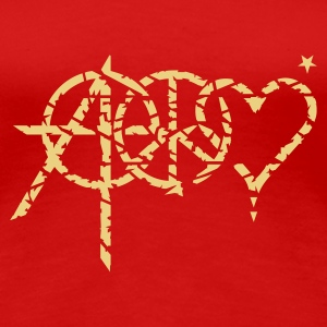Rot anarchy peace love (grunge, 1c) T-Shirts - Frauen Premium T-Shirt