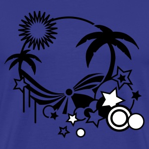 blue Beach in the summer with palm trees, sun and sea Men's T-Shirts - Men's Premium T-Shirt