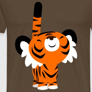 Noble brown Cute Proud Cartoon Tiger by Cheerful Madness!! Men's T-Shirts - Men's Premium T-Shirt